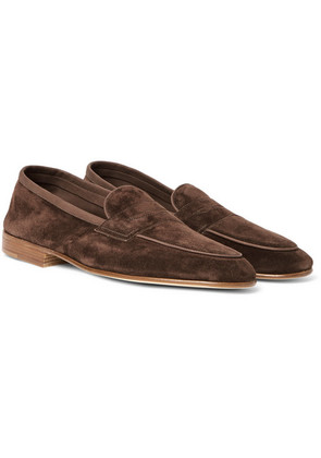 Edward Green - Polperro Nubuck-trimmed Suede Penny Loafers - Chocolate