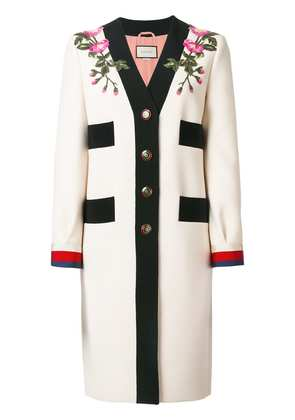 Gucci GG Web embroidered coat - Neutrals