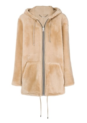 Barbara Bui oversized hooded fur jacket - Neutrals