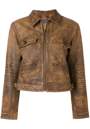Polo Ralph Lauren zipped leather jacket - Brown