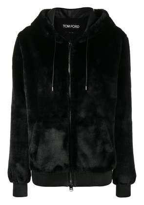 Tom Ford zipped shearling hoodie - Black