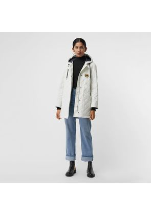 Burberry Diamond Quilted Oversized Hooded Parka, White