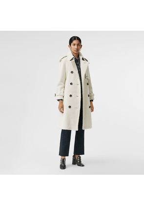 Burberry Tartan-lined Shearling Trench Coat, White