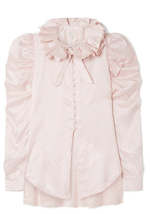 Hillier Bartley - Diana Ruffled Striped Silk-satin Shirt - Baby pink