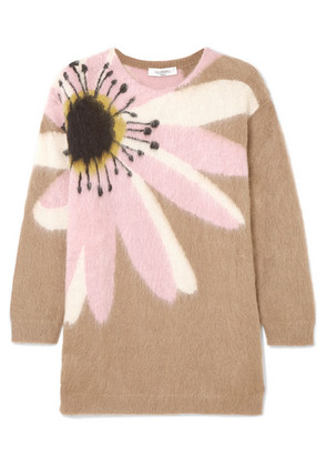 Valentino - Oversized Embroidered Cashmere Sweater - Beige