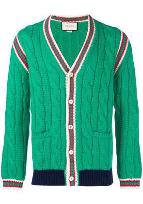 Gucci braided stripes cardigan - Green