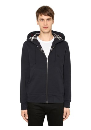 ZIP-UP COTTON SWEATSHIRT W/ CHECK LINING