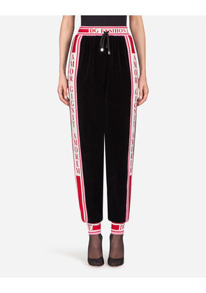Dolce & Gabbana Trousers and Leggings - JOGGING PANTS IN COTTON VELVET BLACK