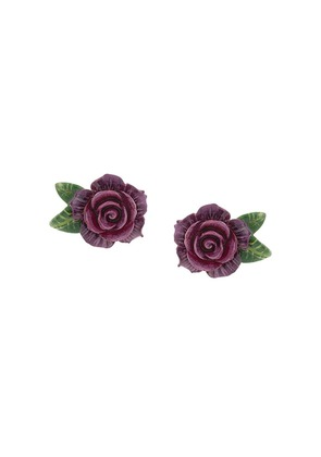 Dolce & Gabbana rose clip-on earrings - Purple