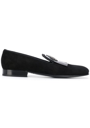 Dolce & Gabbana crown embroidered fringed loafers - Black