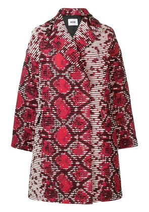 MSGM abstract print midi coat - Red