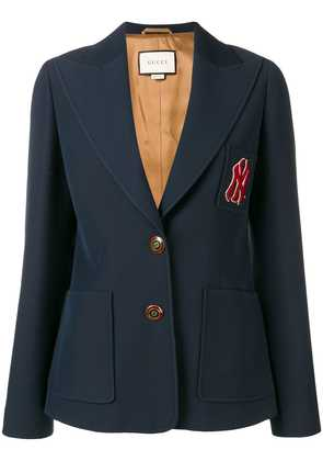 Gucci embroidered NY Yankees patch blazer - Blue