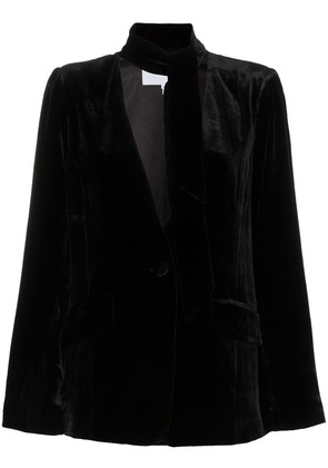 Frame Denim tie neck collarless silk blend velvet blazer - Black