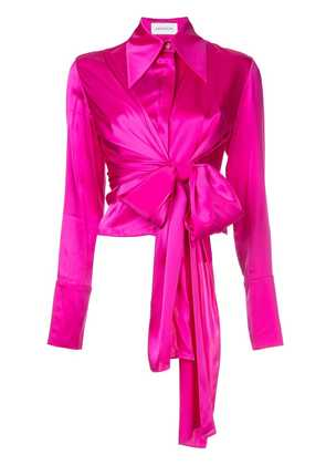 16Arlington cropped tie front shirt - Pink