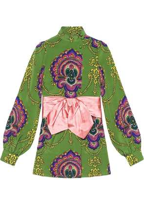 Gucci 70s graphic print shirt with bow - Green