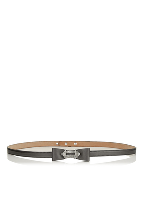 JOLEE BELT Anthracite Metallic Nappa Leather Belt with Crystal Encrusted Jewelled Buckle