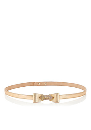 JOLEE BELT Gold Metallic Nappa Leather Belt with Crystal Encrusted Jewelled Buckle