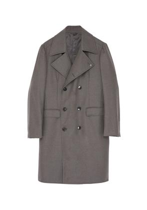 Double breasted wool melton trench coat