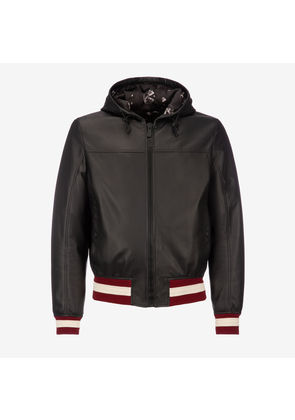 Bally Blouson X Funk Black, Men's lamb nappa leather hooded jacket in black