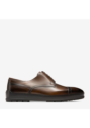Bally Reigan Brown, Men's plain calf leather derby shoe in mid brown