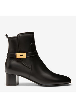 Bally Iris Black, Women's plain lamb leather ankle boot with 45mm heel in black