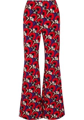 Marni - Floral-print Jersey Wide-leg Pants - Red