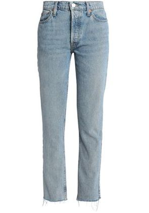 Re/done Woman The Crawford Frayed Mid-rise Straight-leg Jeans Mid Denim Size 24