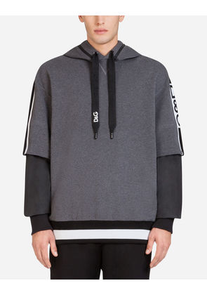 Dolce & Gabbana Sweaters - COTTON HOODIE WITH BRANDED BANDS GREY