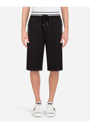 Dolce & Gabbana Trousers - COTTON JOGGING SHORTS WITH PRINT BLACK