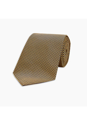 Navy and Gold Houndstooth Silk Tie