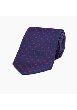 Long Navy and Red Mini Spot Printed Silk Tie