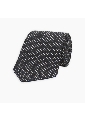 Long Black and White Small Spot Printed Silk Tie