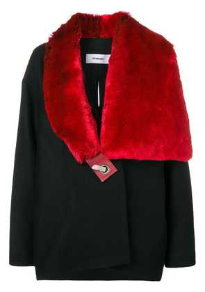 Chalayan faux fur scarf coat - Black