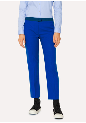 Women's Slim-Fit Cobalt Blue Wool-Hopsack Trousers With Contrast Waistband