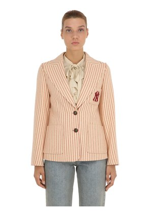 NY PINSTRIPED WOOL BLAZER