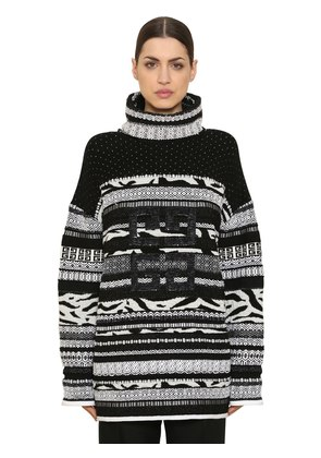 SEQUINED WOOL JACQUARD KNIT SWEATER