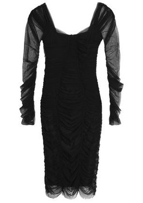 Dolce & Gabbana Woman Ruched Tulle Dress Black Size 38