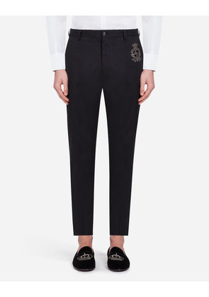 Dolce & Gabbana Trousers - PANTS IN STRETCH COTTON WITH PATCHES BLUE