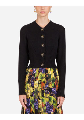 Dolce & Gabbana Knitwear - WOOL AND ALPACA CARDIGAN BLACK