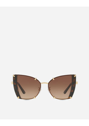 Dolce & Gabbana Sunglasses - FACETED BUTTERFLY SUNGLASSES SHINY GOLD AND HAVANA