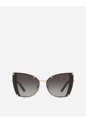 Dolce & Gabbana Sunglasses - FACETED BUTTERFLY SUNGLASSES SHINY GOLD AND BLACK