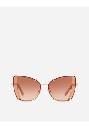 Dolce & Gabbana Sunglasses - FACETED BUTTERFLY SUNGLASSES SHINY PINK GOLD AND TRANSPARENT PINK