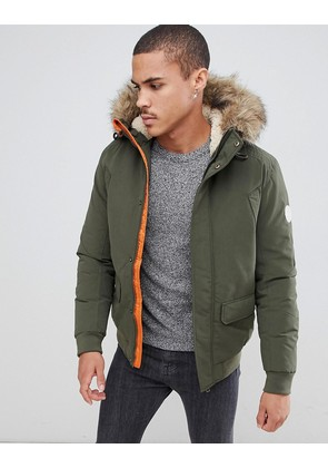 Jack & Jones Originals Short Parka With Faux Fur Hood - Forest night