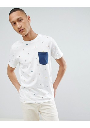 Jack & Jones Originals T-Shirt With All Over Print And Pocket - Cloud dancer
