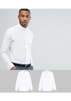 Jack & Jones Premium 2 Pack Slim Shirt - White/white