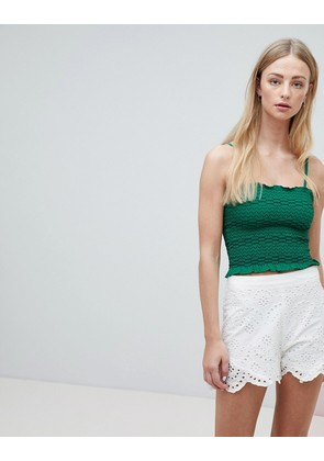 Brave Soul Moon Shirred Crop Vest Top with Contrast Stitching - Emerald
