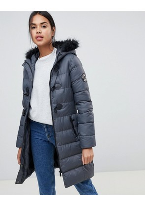 Brave Soul Wizard Long Padded Coat with Faux Fur Hood - Grey