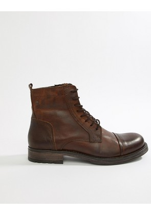 Jack & Jones Leather Boot With Side Zip - Cognac