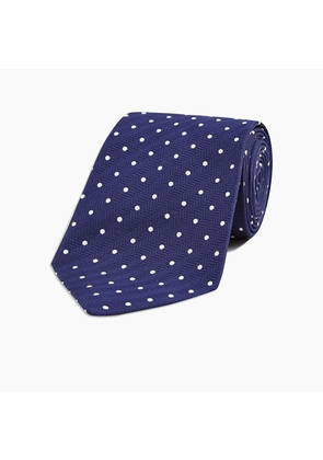 Slim Navy and White Spot Herringbone Silk Tie