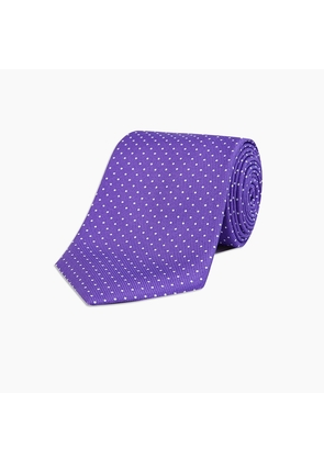 Long Purple and White Small Spot Printed Silk Tie